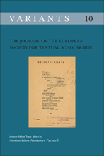 Variants: The Journal of the European Society for Textual Scholarship Cover
